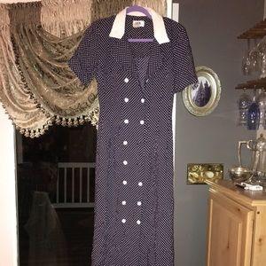 Navy blue long polka dot dress